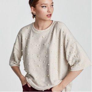 Zara short sleeve pearl sweater